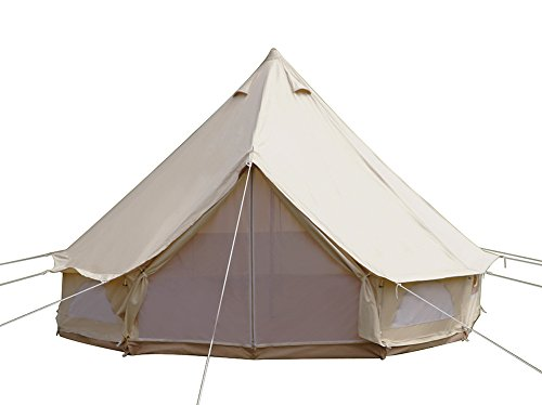 Dream House Diameter 4m Outdoor Luxury Cotton Canvas Family Camping Bell Tents with Stove Hole