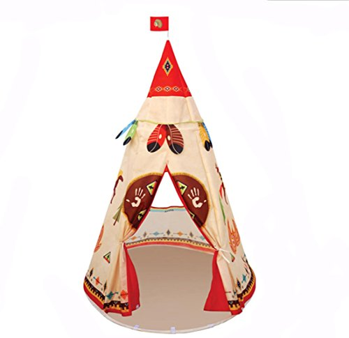 Hi Suyi Lightweight Folding Kids Indian Teepee Tent Play House for Indoor Outdoor Garden Beach Toys