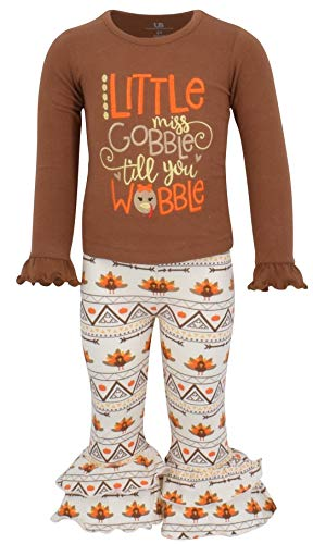 Unique Baby Girls 2 Piece Little Miss Gobble Turkey Thanksgiving Outfit (4t)