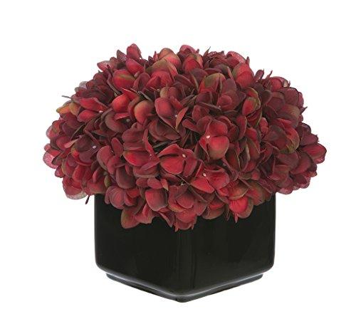 (Artificial Hydrangea in Small Black Cube Ceramic Color: Burgundy )
