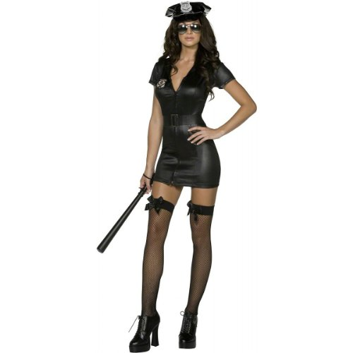 Police Outfit Sexy (Smiffy's Women's Fever Corrupt Cop Costume, Dress, Belt and Hat, Cops, Fever, Size 2-4, 31901)