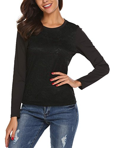 Women's Fashion O-Neck Lace Patchwork Staple Top with Long Sleeves