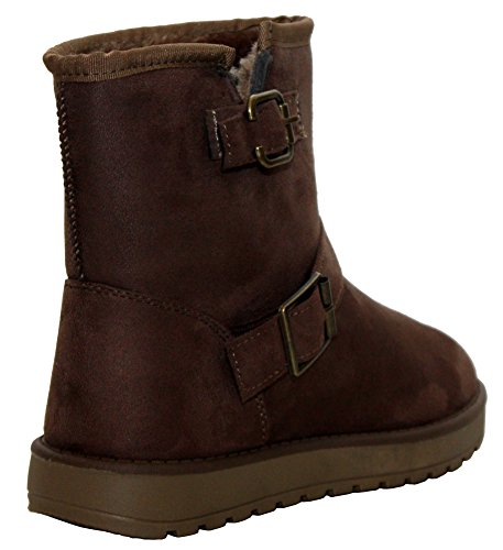 Cushion Girls Ankle Walk Buckle On Faux Shoes 5 Sizes Ladies Brown 8 UK Lined Winter Thick Snow Womens Fur Boots Warm Suede Pull qrCpqxw