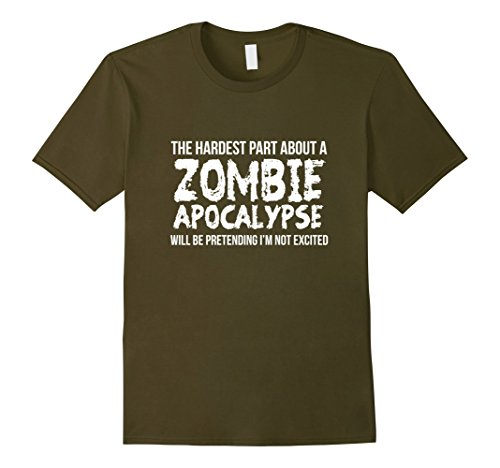 Apocalypse Themed Costume (Mens Zombie Apocalypse Tshirt Funny Halloween Gift Mens Womens Small Olive)