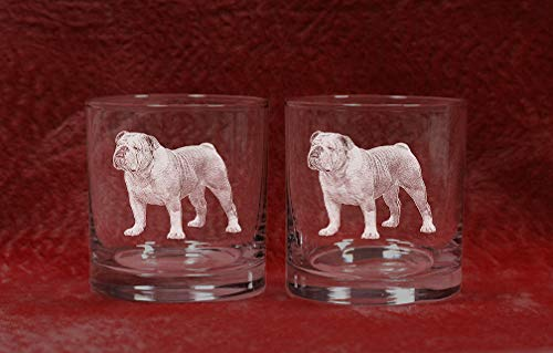 English Bulldog Laser Etched Double Old Fashioned Whiskey Glass Set (2, DOF) Review