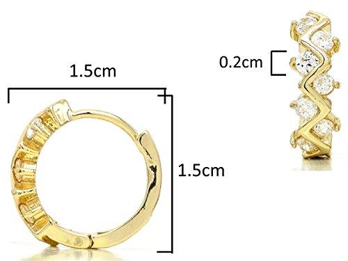 Boucles d'oreilles créoles Femme-Or jaune 18K authentique fait main boîte à bijoux noir avec design unique avec strass blanc transparent