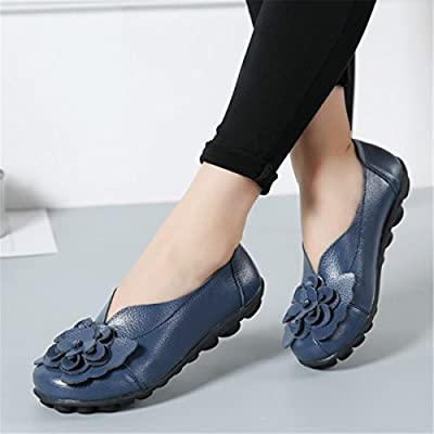Socofy Slip On Leather Flat Shoes, Women's Outdoor Flower Decoration Handmade Casual Lazy Soft Loafers   Loafers & Slip-Ons