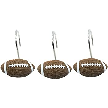 doupoo home decorative football shower curtain hooks set of 12 football