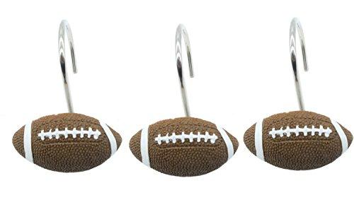 Doupoo Home Decorative Football Shower Curtain Hooks Set of 12 (Football)