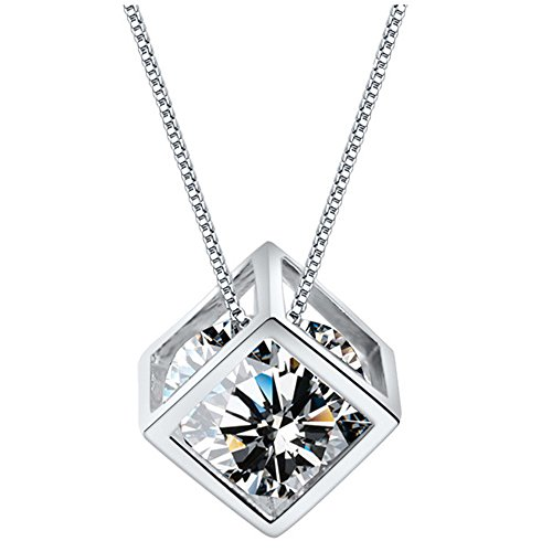 KoiCity Magic Cube Square Shape Necklace CZ Cubic Zirconia Crystal Pendant Necklace Women Mother Daughter Teen Girls Mom (Platinum Square Necklace)