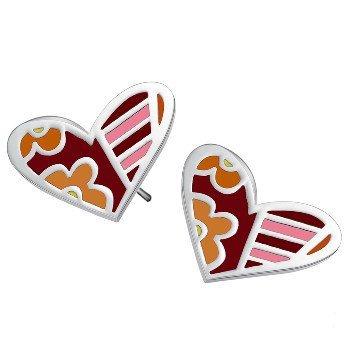 klaritta Boucles d'oreilles clous cœurs moderne de haute qualité en acier inoxydable coloré Candy E68