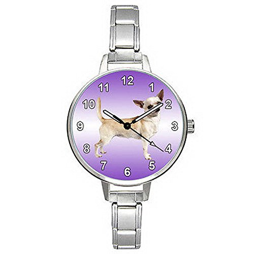 BMTC858 Short-Haired Chihuahua Dog Italian Charm Bracelet Mens Ladies Wrist Watch