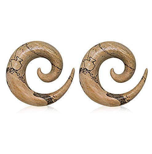 - Pierced Owl Natural Organic Tamarind Wood Spiral Taper Plugs, Sold as a Pair (3mm (8GA))