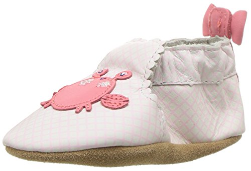 Robeez Girls' Soft Soles With Bow Back Slip-On, Crab Cutie, 6-12 Months M US Infant (Cutie Girl Shoes)