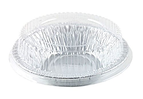 4 7/8 inch Aluminum Foil Tart / Mini-Pie Pan w/Clear Plastic Dome Lids - Disposable