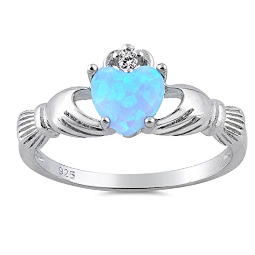 Blue Simulated Opal Unique Claddagh Promise Ring .925 Sterling Silver Band Size 9