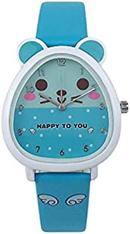 IWOCH Girls Watches Cute Diamond with Easy Reader Time Teacher PU Leather Band Watch for Kids Ages 5-7