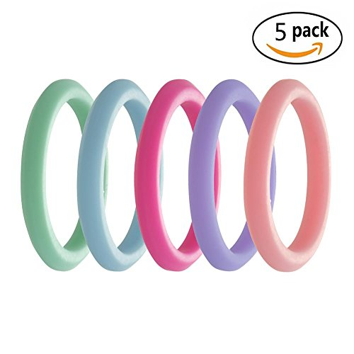 Simpleonly Thin Stackable Silicone Wedding Ring Women Set, Alternative Rubber Bands Pink hot Lime Teal Green Blue Purple, Narrow Elastic Non Metal Mechanic Workout, Athlete Exercise, Sport Keep Fit For Sale