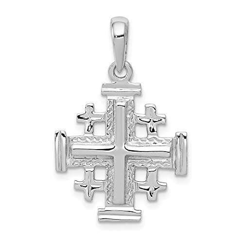14k White Gold Jerusalem Cross Religious Pendant Charm Necklace Jerum Fine Jewelry Gifts For Women For Her