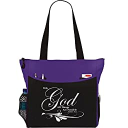 Matthew 19:26 With God All Things Are Possible Tote Bag Christian Bible Cover Verse Church Office School Travel Gym Book Organizer - Purple Black