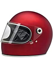 Casco Integral Gringo S biltwell Rojo Mate Flat Red homologado Doble homologación ECE (Europa) & Dot (América) Helmet Biker Custom Vintage Retro año 70 XS Rojo