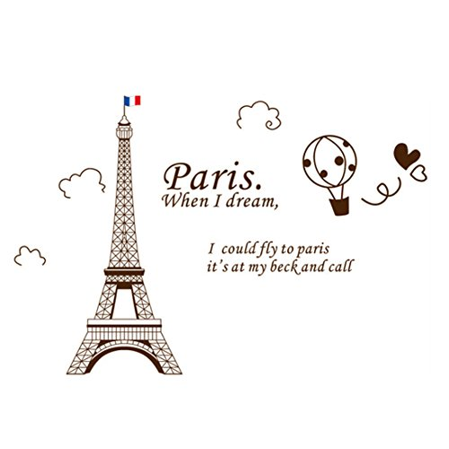 Brown Mural Eiffel Sticker 60x90cm