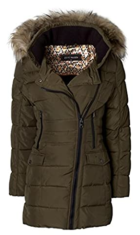 Steve Madden Women's Quilted Puffer Jacket Coat with Faux Fur Trimmed Hood - Olive (Size X-Large) - Fur Trimmed Knit Jacket