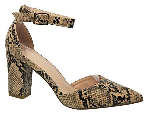 - MVE Shoes Womens Stylish Comfortable Low Block Pointed Toe Ankle Strap Heel, Taupe Snake 6.5