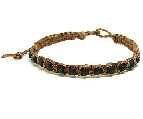 Muay-Thai-Buddha-Fashion-Style-Brown-Hemp-Rope-Black-Wood-Bead-Wristband-Bracelet-Thailand