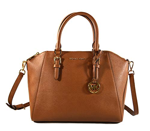 Michael Kors Ciara Saffiano Leather Large Top Zip Satchel Crossbody Bag Purse Tote Handbag (Luggage)