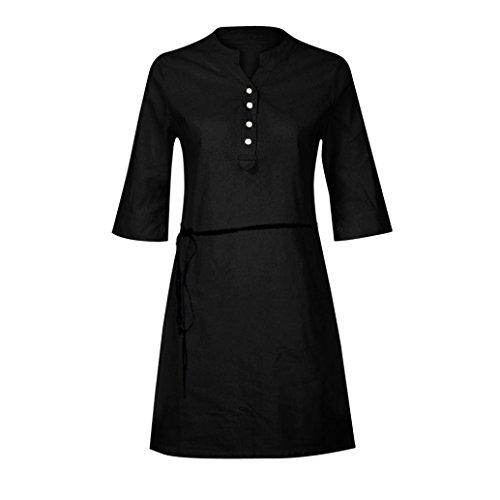 Demi Coton Noir Boutons Chemise avec Longue Robe de Tonsi Longue Chic Loisir Manche Femme Voyages Travail Manche naf0nwACqx