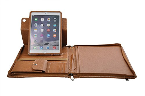Letter-Size Leather Portfolio with Detachable 9.7 inch iPad Pro Holder and Multiangle Viewing, Brown
