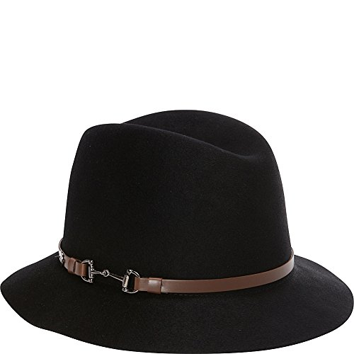 Karen Kane Women's Raw Edge Fedora with Lux Trim, Black, M/L