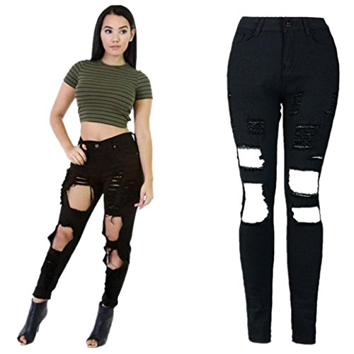 Elevin(TM)Women High Waist Denim Skinny Ripped Stretch Jeans Slim Pencil Pants Trousers (S, C)