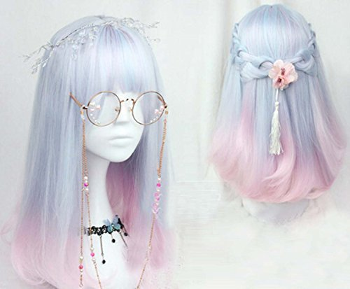 Women Girls Medium Size Harajuku Light Blue Mixed Pink Sweet Lolita Wig Super Natural Club Bob Costume Party Daily Hair with Wig Cap