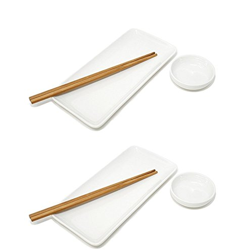 - Sushi Plate, Soy Sauce Dish and Chopsticks - White Set of 2, by Umami Tableware
