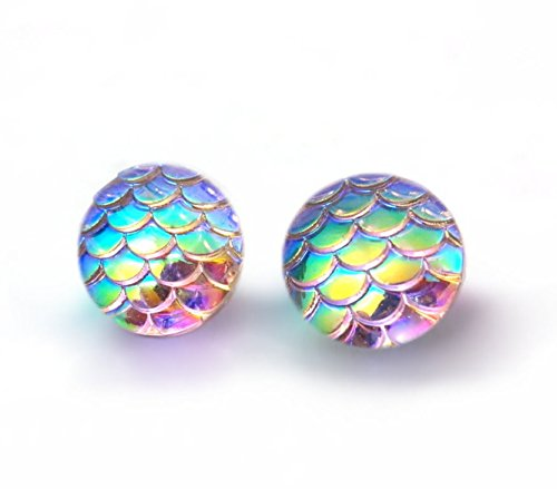 Rainbow Color Changing Iridescent Mermaid Dragon Scale Stud Earrings Stainless Steel or Titanium Posts (Titanium Posts)