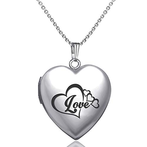 (YOUFENG Love Heart Locket Necklace that Holds Pictures Love Heart Engraved Lockets Necklaces Gift for Girls Boys)