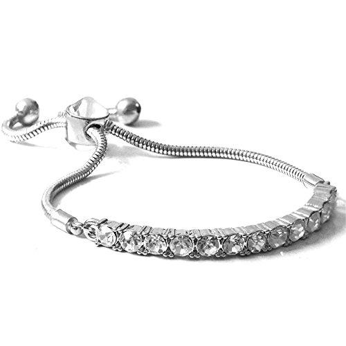 Rhinestone Strand Bracelet (ZSE Strand Bracelet Slider Silver Micro Pave Tennis Bracelet for Women Graduation Gifts)