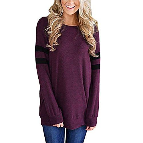 - haoricu Women Blouse, Womens Stripe Crew Neck T Shirt Long Sleeve Solid Sweatshirt Pullover Tops (L, Purple)