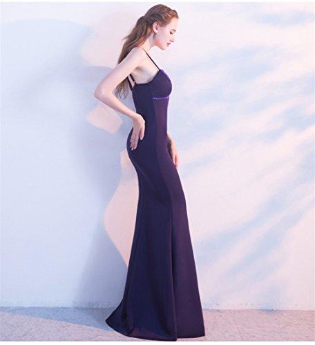 Women`s Cotylédons Robe De Sirène Slip Sans Manches Robe De Bal Construire En Soutien-gorge Mince Ajustement Violet