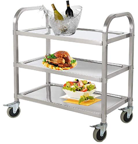 Stainless Steel 3-Shelf Utility Service Storage Cart for Restaurant Catering Kitchen Up to 300 lbs Capacity Stainless Steel Carts - 29.5