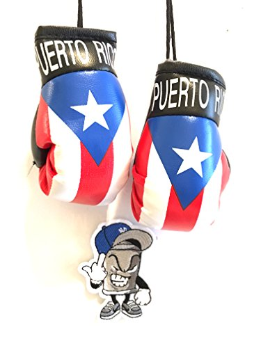 Boricua Puerto Rico Puerto rican 2pc Rearview mirror flag and Mad Can studios NYC Limited edition 2pc pack