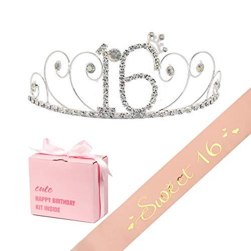 "(B4MBOO16th Birthday Tiara and Sash | Happy 16th Birthday Party Supplies | ""Sweet 16"" Pink Satin Sash and Crystal Rhinestone Tiara Birthday Crown | 16th Birthday Party Decoration Kit)"