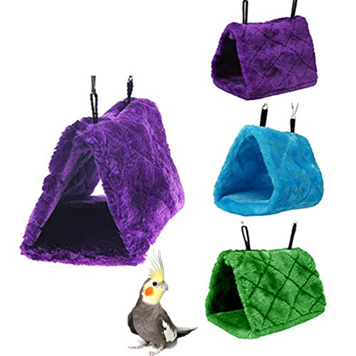 Keersi Warm Bird Nest House Bed Hanging Hammock Toy for Budgie Parakeet Cockatiel Cockatoo Conure Lovebird African Grey Amazon Parrot Cage Perch Stand