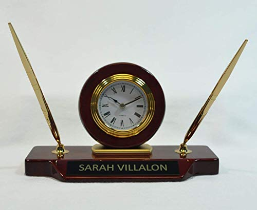 Holmes Stamp & Sign Personalized 9 x 4 3/4 Piano Finish Desk Clock on Base with 2 Pens ()
