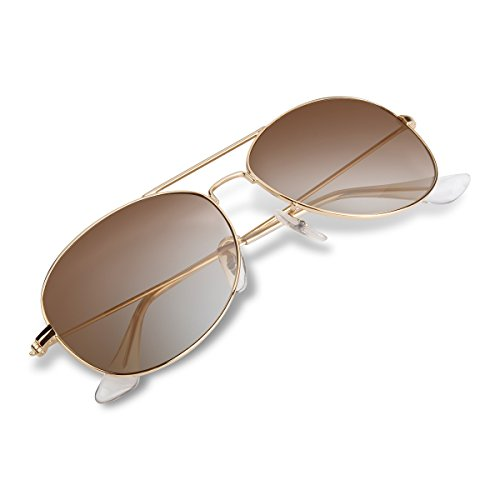 Wenlenie Aviator Sunglasses for Men Women with Gold Metal Frame/Gradient Brown Lens- Small