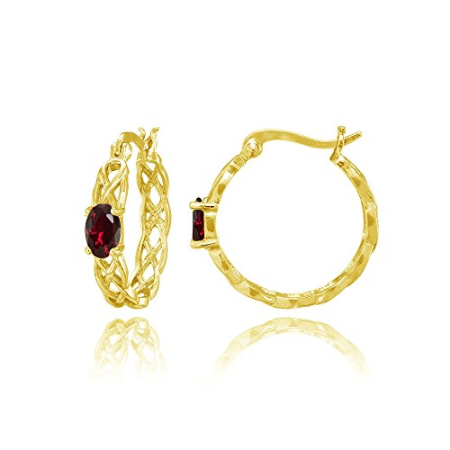 Yellow Gold Flashed Sterling Silver Created Ruby Celtic Knot Round Hoop -