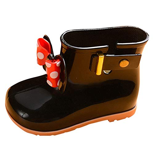 Toddler Baby Girls Boys Kids Rain Shoes for 1-7 Years Old,Child Bowknot Dot Rubber Waterproof Rain Boot Galoshes (6-7 Years Old, Black) ()