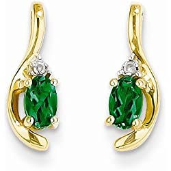 Solid 14k Yellow Gold Diamond & Genuine Emerald Earrings (.01 cttw.) (14mm x 5mm)